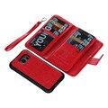 2en1 s6 wallet case para samsung galaxy s6 edge cubierta extraíble magnética 9 ranura para tarjeta de la pu casos de cuero para s6 edge plus monedero bolsa