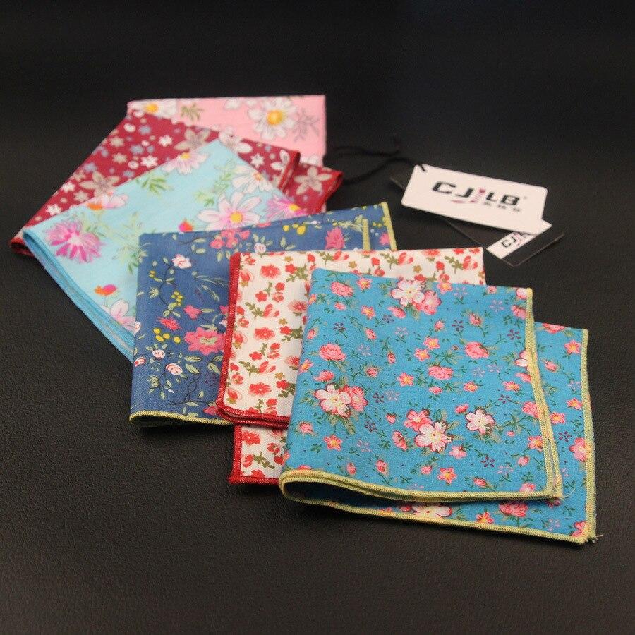 New Korean Fashion Designer High Quality  Mens Print Floral Pocket Squares Handkerchiefs For Wedding Cotton 10pcs/lot  24x24cm