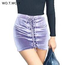 Lace Up Velvet Pencil Skirts Womens 2017 Spring Short Zipper Split Mini Skirt Women Elastic Bodycon High Waist Skirt D635