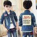 Criança do sexo masculino denim outerwear casaco denim criança jaqueta top 2016 primavera e no outono jaqueta de algodão criança
