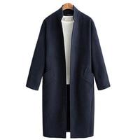 Savabien Long Coats Winter Women Wool Jacket Cardigan 2019 Solid Long Sleeve Mandarin Collar Vintage Ladies Wool Coat Outerwear