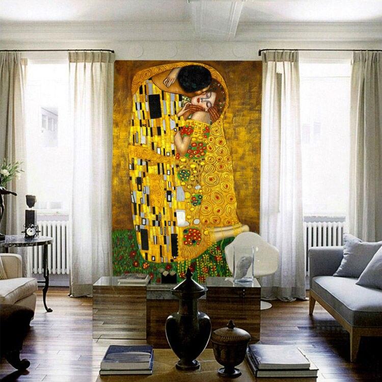 The Kiss Mural Gustav Klimt Oil Painting Custom 3D photo wallpaper waterproof Wallpaper Classic Art Bedroom Study Kid Room decor