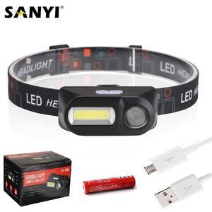 Image 1 - Sanyi Mini lampe torche frontale COB phare LED Rechargeable par USB, lampe torche, lumière nocturne, idéal pour le Camping, la randonnée ou la pêche, 18650