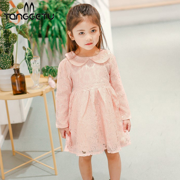Tanggetu 2018 New Lace Princess Dress Summer Spring Pink Red Two Colors  Brief Cute Girl Dress Kids Party Children Clothing dress girl princess 2018 spring new