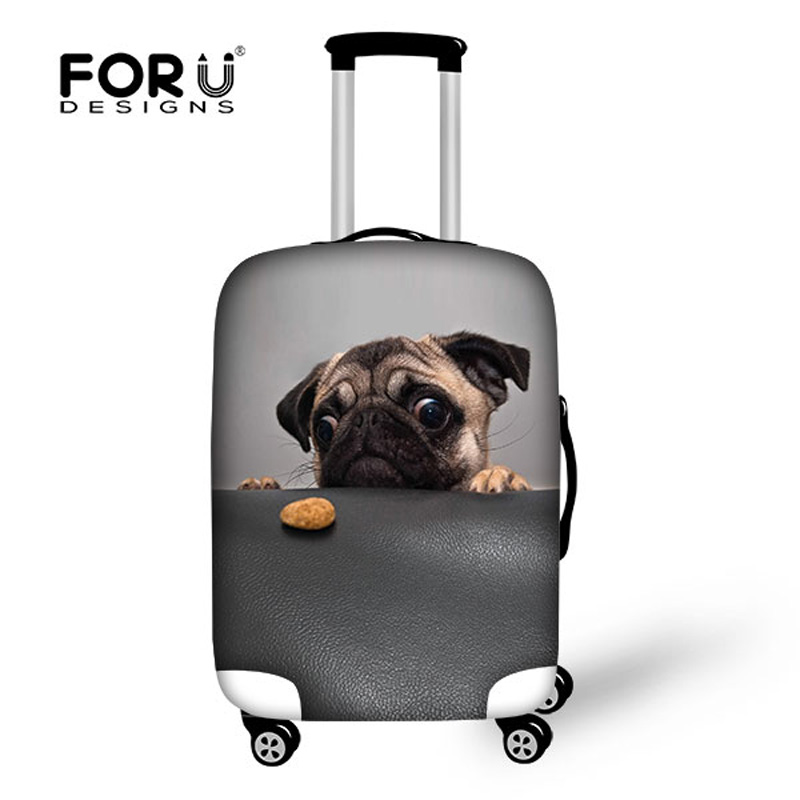 Cute Animal Pug Dog Printing Suitcase Cover Elastic Waterproof Travel Luggage Protective Dust Cover To 18-28 Inch Luggage Set