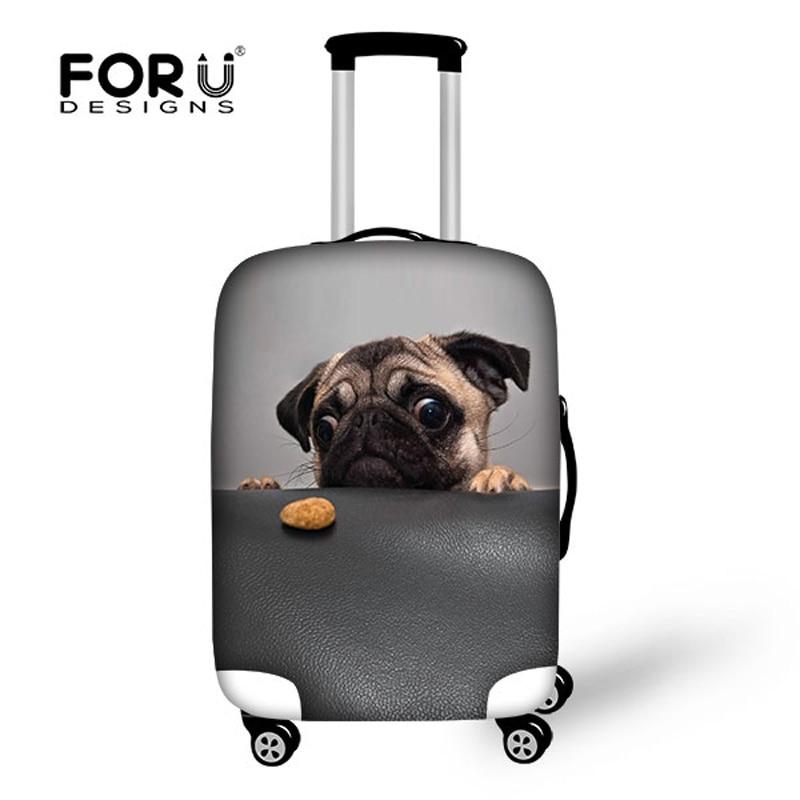 Niedlichen Tier Mops Hund Druck Koffer Abdeckung Elastische - Reisezubehör