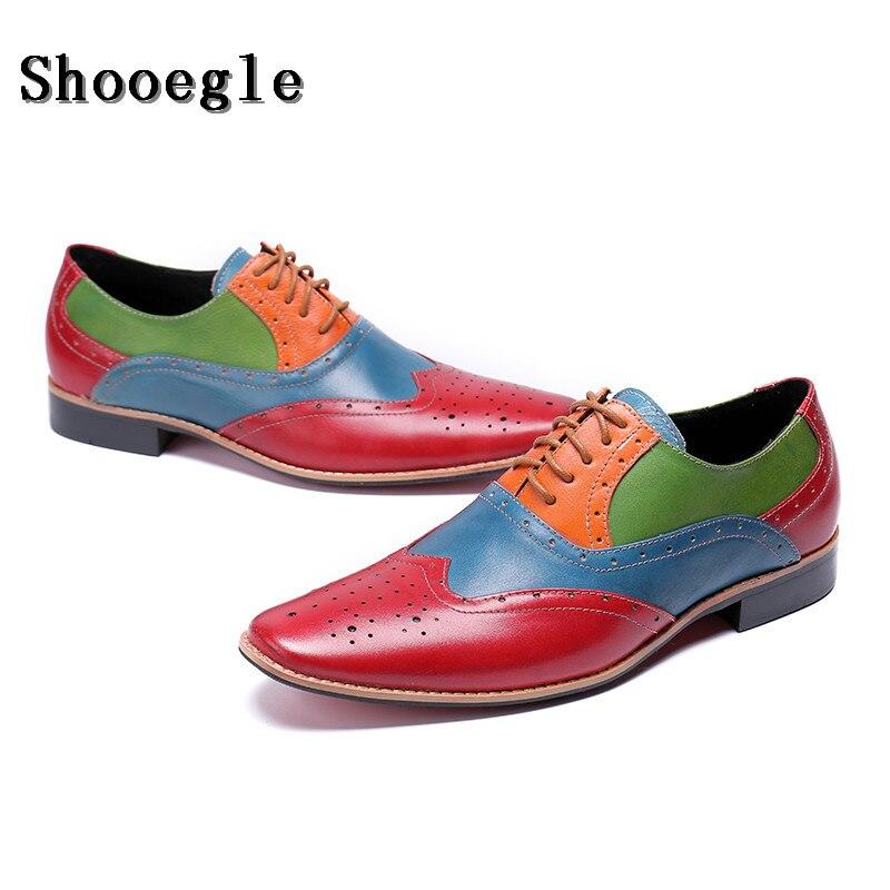 SHOOEGLE/Новинка; мужские лоскутные оксфорды; роскошные кожаные свадебные модельные туфли; Мужские броги с перфорированным носком; обувь для банкета; лоферы в деловом стиле - 6