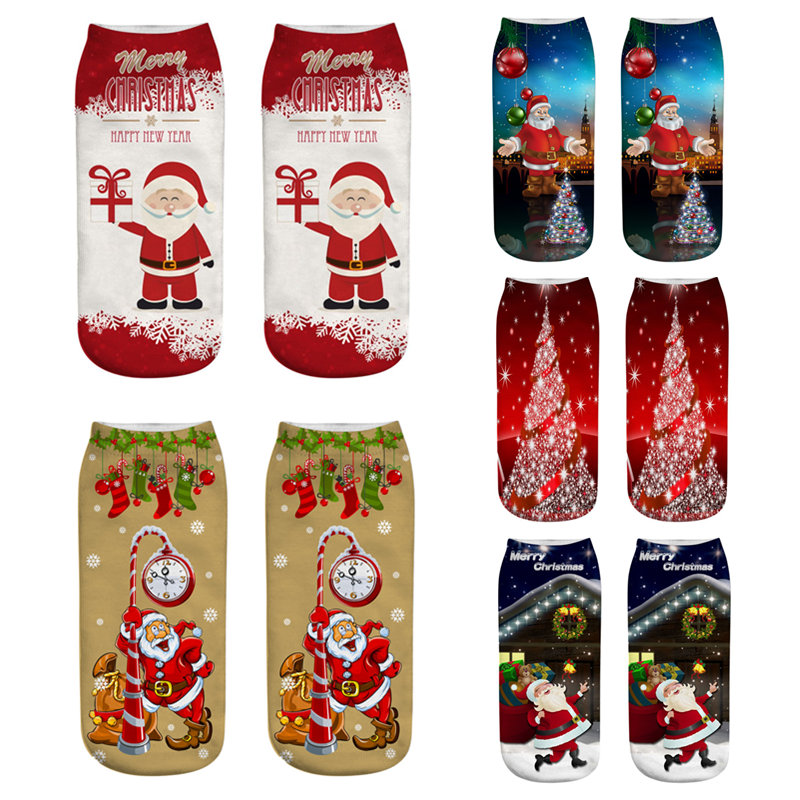 Christmas   Socks   Women 3D   Socks   2019 Happy New Year Gift Kawaii Calcetines Femme Girls Cute Low Cut Ankle   Socks   Santa Claus Elk