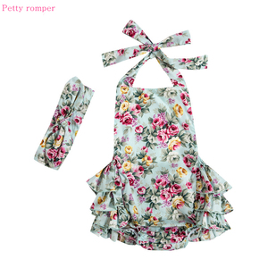 Floral Printed Bubble Baby Romper 2019 Halter Cotton Baby Girls Clothes Summer Vintage Toddler Jumpsuits with Headband