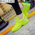 Wikileaks 2017 Новый Женщины Повседневная Классический Сетки Воздуха Обувь Для Ходьбы Женщина Конфеты флуоресцентные Цвета Толщиной Резиновой Обуви Zapatos Mujer