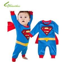 Ползунки Супермена для маленьких мальчиков с длинными рукавами и плащом костюм для Хэллоуина и Рождества подарочные ползунки для мальчиков весна-осень одежда бесплатная доставка