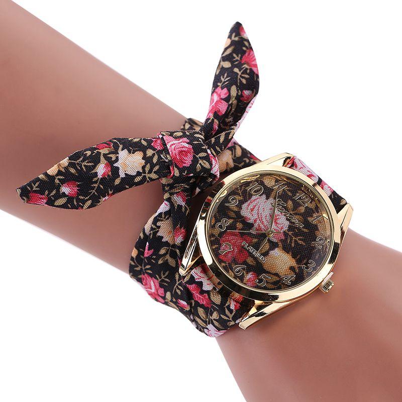 Womens Floral Dial Fashion Watch Floral Cloth Band Lace-up Bracelet Quartz WristwatchesWomens Floral Dial Fashion Watch Floral Cloth Band Lace-up Bracelet Quartz Wristwatches