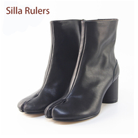 Silla Rulers Split Toe Chunky High Heel Women Short Boots Genuine Leather Solid Color Sliver White