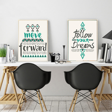 Follow Dreams Canvas Paintings Inspiring Quote Posters Prints Nordic Pop Wall Art Pictures for Kids Room Home Decor No Frame