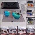 O envio gratuito de alta qualidade HOT Moda Óculos de Aviador Óculos De Sol de Marca Designer com caixa original e logotipo para Mulheres Dos Homens
