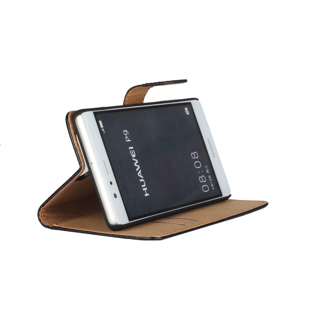 Väska till Huawei P9 täcka Premium PU-läderplånbok Väska Flip - Reservdelar och tillbehör för mobiltelefoner - Foto 4