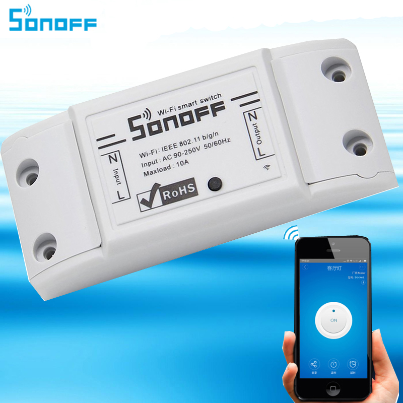 Sonoff Wifi Switch,Universal Smart Home Automation Module Timer Diy  Wireless Switch, Remote Controller Via IOS Android 10A/2200W