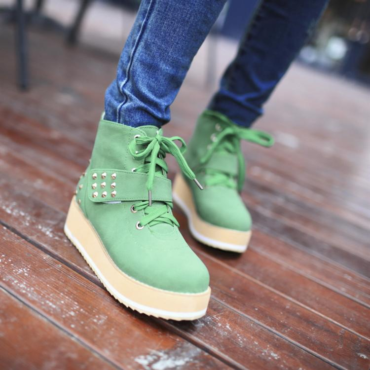 ФОТО 2015 winter boots  preppy style small yards boots 31 32 33 rivet female wedges lacing single boots plus size 40 - 43 boots