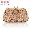 NATASSIE Women Evening Bags Ladies Wedding Party Bag Crystal Gold Clutch Diamonds Purses