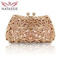 NATASSIE Women Evening Bags Ladies Wedding Party Bag Crystal Gold Clutch Diamonds Purses