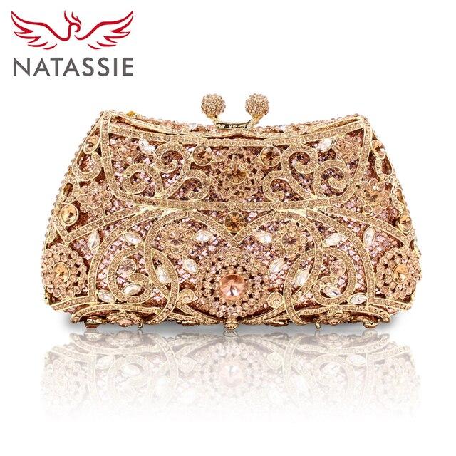 Natassie женщины вечерние сумки дамы свадьба сцепления сумка кристалл золото бриллианты кошельки