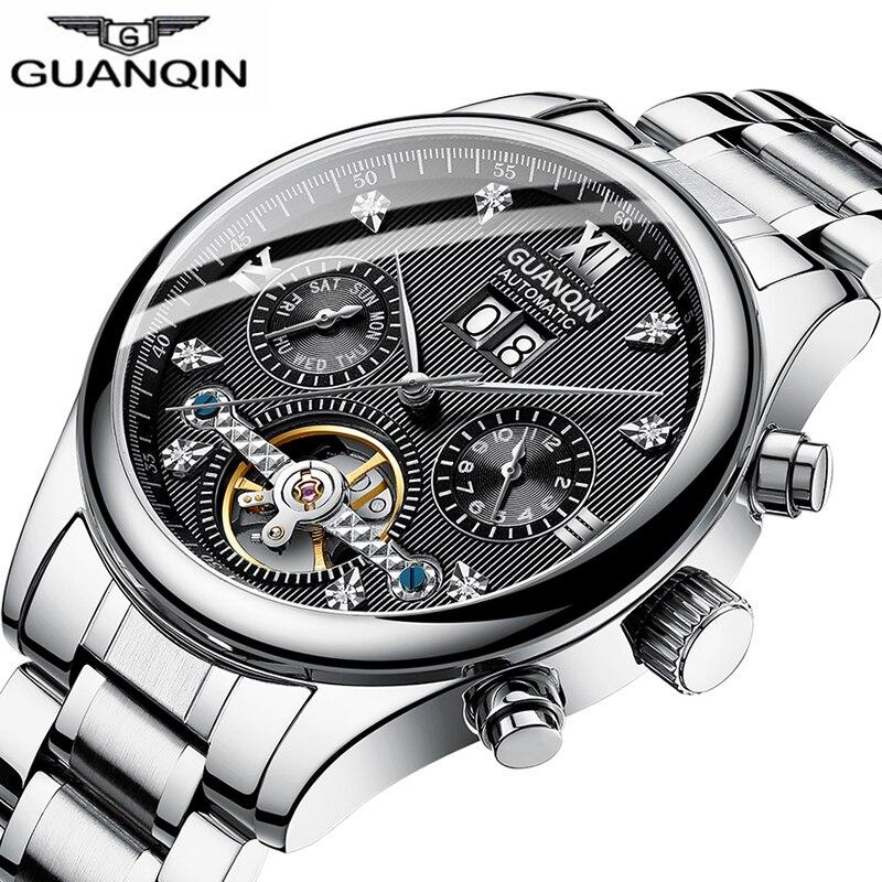 GUANQIN 2019 Automatic clock men Mechanical watch men Tourbillon waterproof top brand luxury dropshipping date relogio masculino