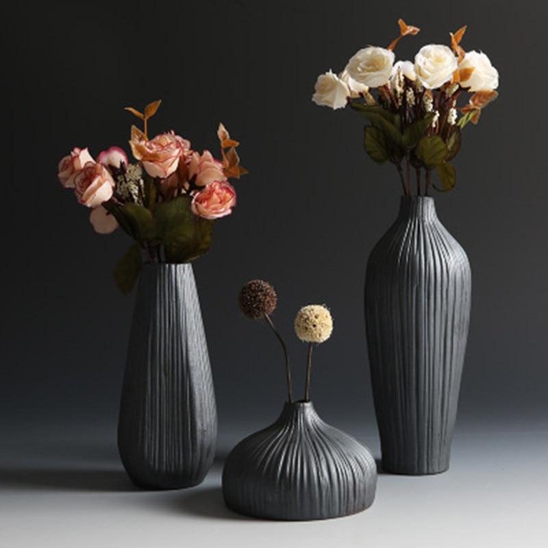 Fashion Classic Black Ceramic Vase Retro Container Simple European Mediterranean Gradient Handmade