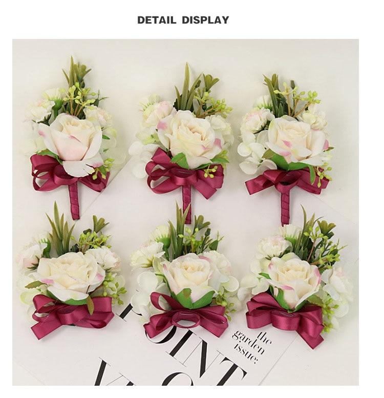 bridesmaid bracelet wedding corsage flowers roses artificial  (16)