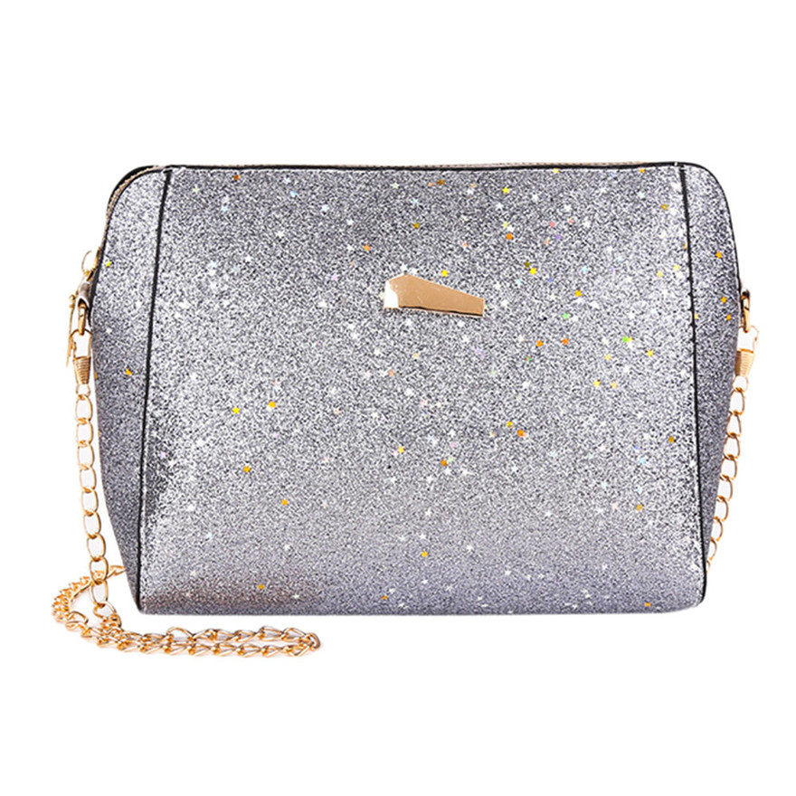 New Arrival Womens Fashion Sequins Crossbody Bag Pure Color Shoulder Bags leisure Zipper Flat High Quality Shell Messenger Bag T