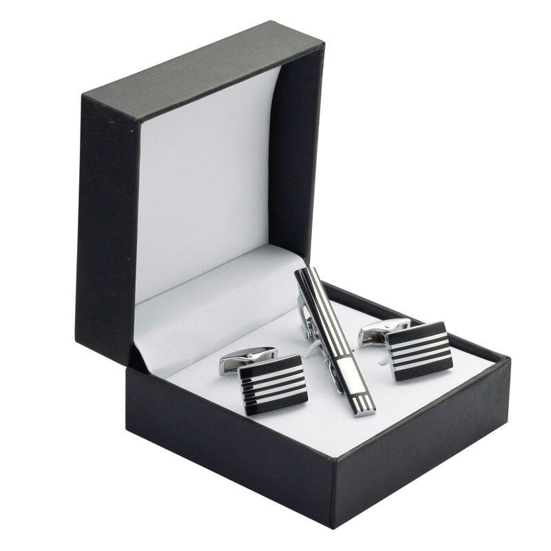 A Set Of High Quality Black Enamel Cufflinks Striped Tie Clip Cufflinks Wedding Gift Box Set Men Free Shipping