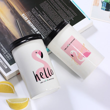 Flamingo Printed Ceramic Smoothie Tumbler