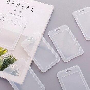 1pc simples tampa de cartão de nome de plástico transparente titular do cartão de banco 1