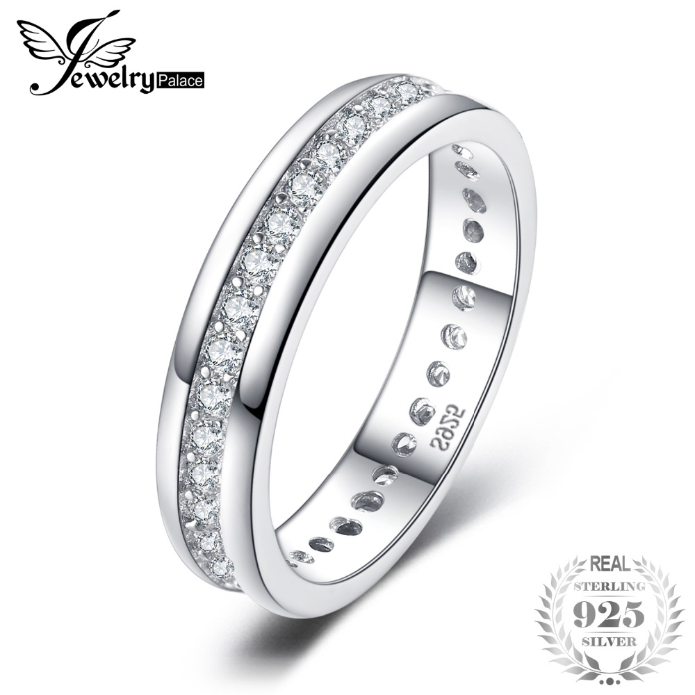 JewelryPalace Classic Band Wedding Ring Real 925 Sterling Silver Jewelry Birthday Present For Girlfriend Fashion Fine
