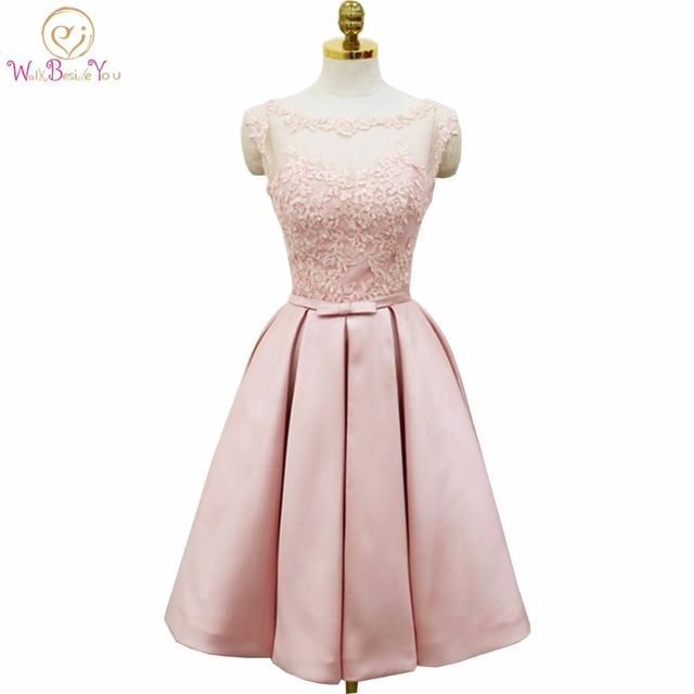 a0f6f01804 Walk Beside You Pink Prom Dresses Lace Applique Beads Evening Gowns Knee  Length Sheer Neck Party Gowns Sleeveless Satin A-line