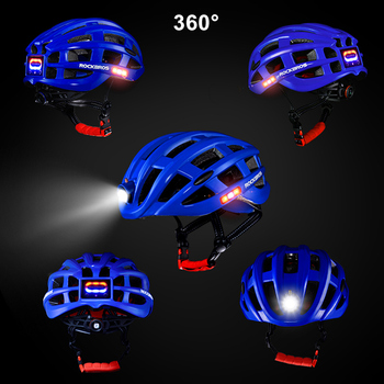 Cycling Helmet with USB Charge Bike Light MTB Mountains Bike Bicycle Ultralight Helmet Integrally-molded Safe Caps for Men Women