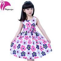 New Brand 2016 Girls Dress Floral Big Bow Cotton Sleeveless Summer Kids Flower Sundress Girl Party