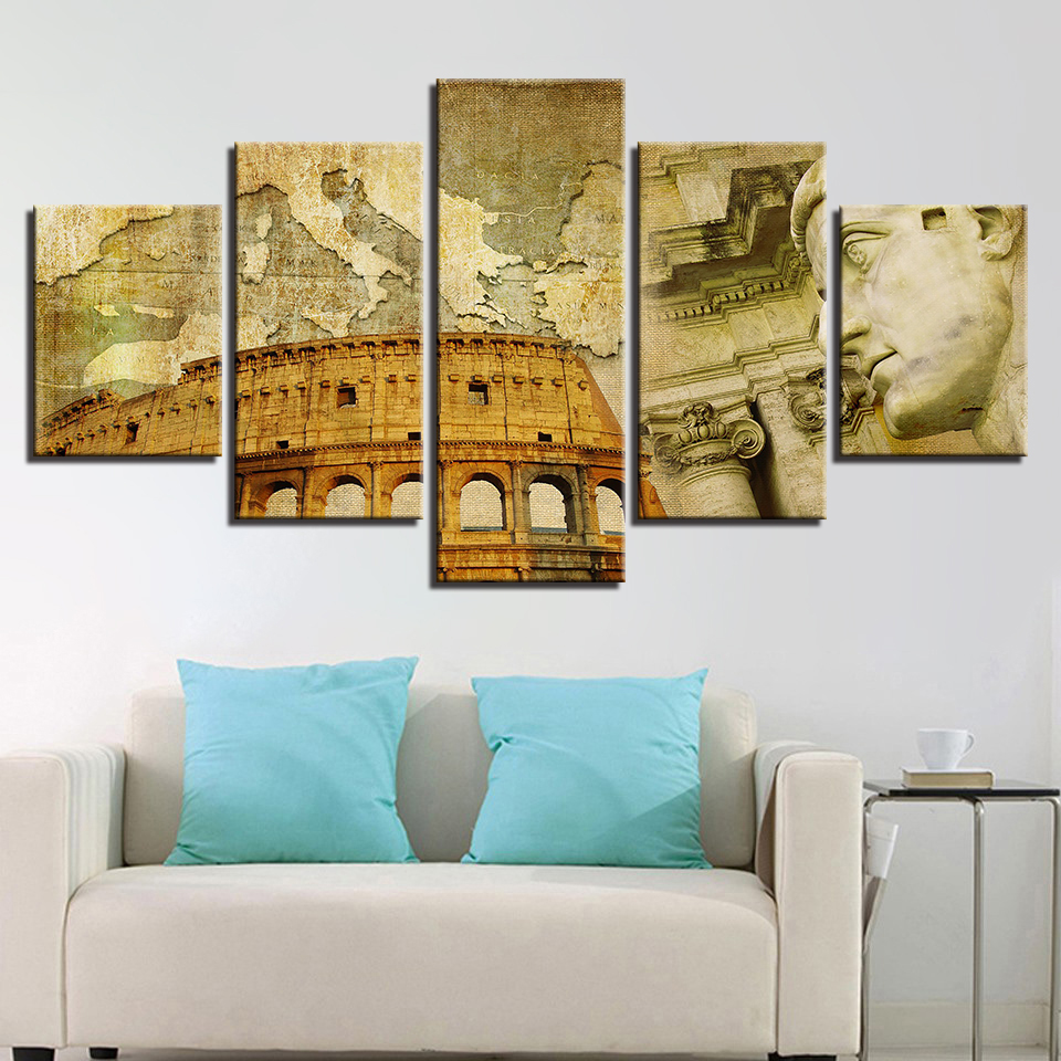 Canvas Painting Poster Living Room Wall Art Frames Modular 5 Panel ...