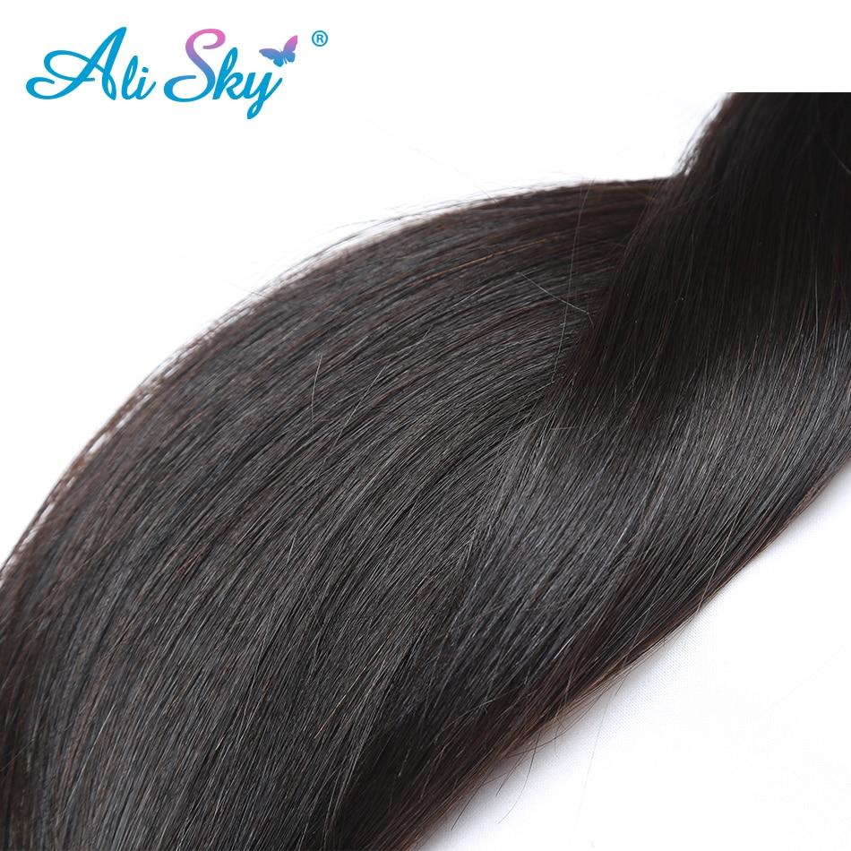 Ali Sky Peruvian Straight Human Hair 3 Bundles with 1pc Lace Closure 4x4 Middle Free Three Ali Sky Peruvian Straight Human Hair 3 Bundles with 1pc Lace Closure 4x4 Middle/Free/Three Part Remy no tangle no shedding