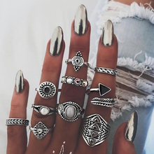 10pcs/Set Fashion Feather Triangle Bohemia Antique Wedding Jewelry Gold & Silver Rings For Women Knuckle Finger Midi Ring Party