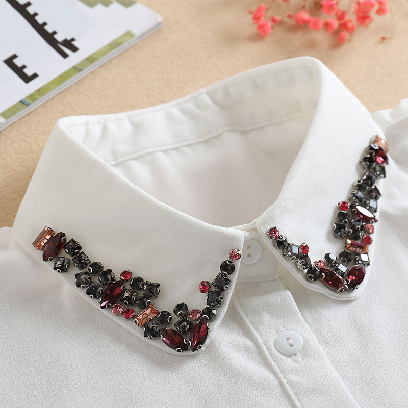 Vintage White Woman Fake Collar Black Crystal Lady Detachable Collar Shirt Neckwear False Collar With Beads Clothing Accessories