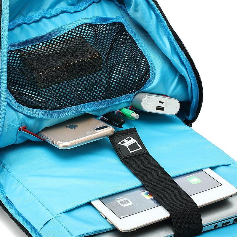 EURCOOL 15.6 pouces sac à dos pour ordinateur portable hommes USB Charge polyvalent hydrofuge voyage sacs à dos pour adolescents sac d'école noir n2830 - 5