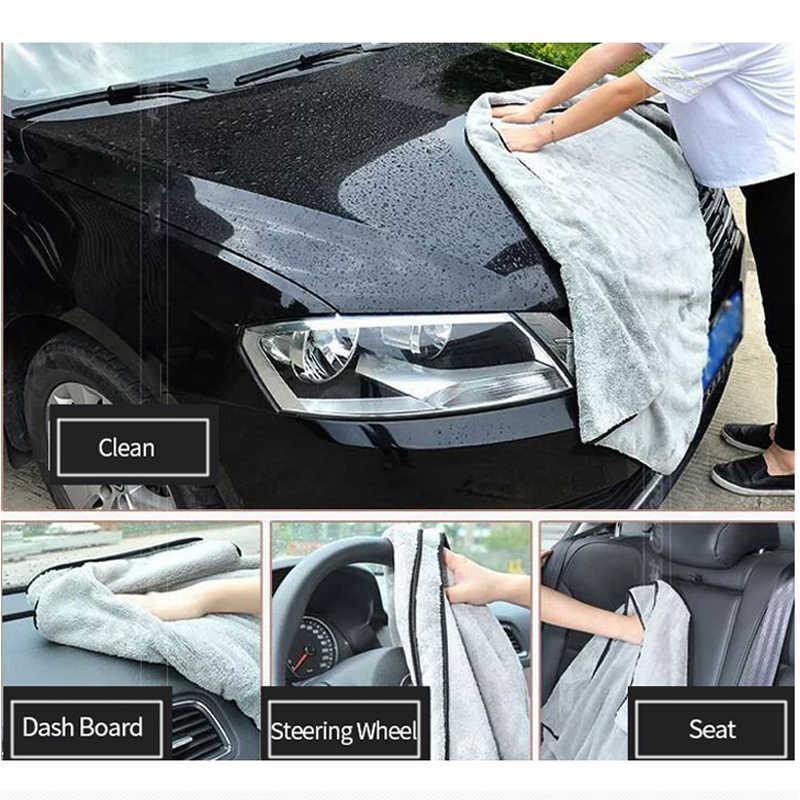 ล้างรถผ้าขนหนูไมโครไฟเบอร์ผ้าขนหนูซักผ้าหนา Plush โพลีเอสเตอร์ผ้าทำความสะอาดรถรายละเอียดล้างอุปกรณ์เสริมอัตโนมัติ