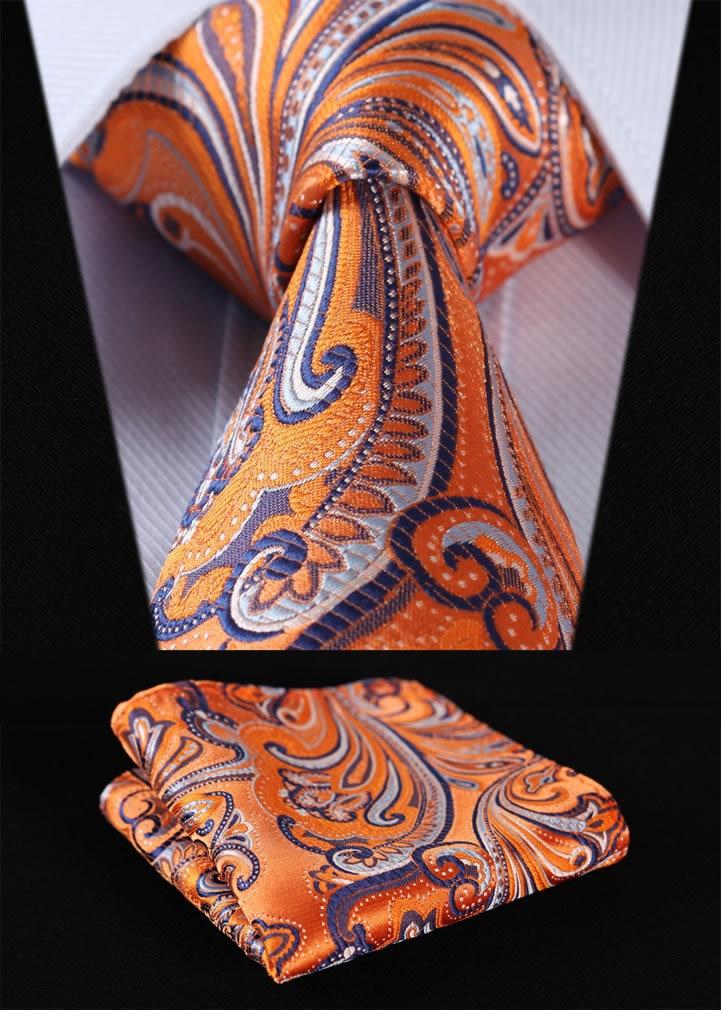 "TF451N8 Orange Floral 3.4"" 100%Silk Wedding Jacquard Woven Men Tie Necktie Pocket Square Handkerchief Set Suit"