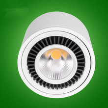 20pcsx Dimmable 7W/10W/15W Led COB Ceiling LED Downlight  85-265V White shell surface mounted Spot Lighting