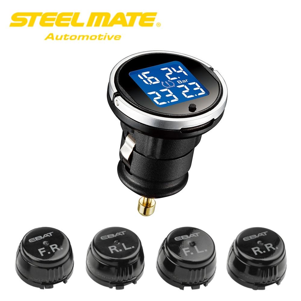 Steelmate Wireless Tire Pressure Monitoring System EBAT ET-710AE 4sensor Monitor LCD Display Tire Pressure Sensor Auto Car Alarm