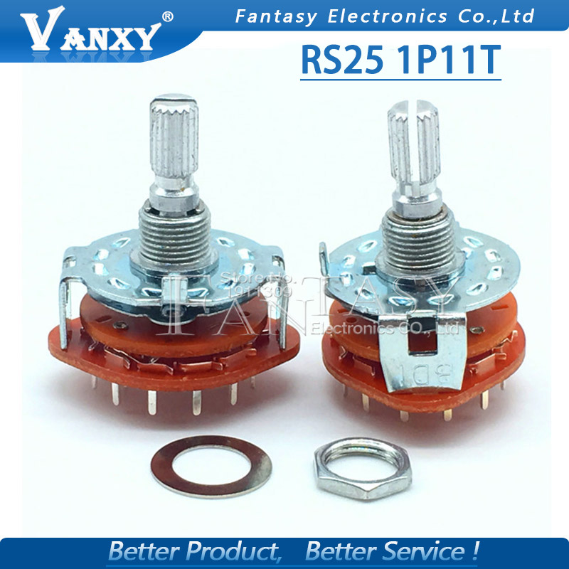 Electronic Components & Supplies Audacious 2pcs Rs25 Band Switch 1p11t Mount Rotary Switch Selector Band 2 Pole 5 Position Knob Switch Band Switches