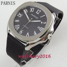 Новые 40 мм Parnis 21 jewels miyota move Мужские t черный циферблат сапфировое стекло, автоматические мужские наручные часы