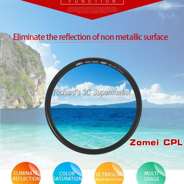 Zomei 52mm CPL Circular Polarizer Polarizing Filter for Canon Nikon Sony Camera Lens 37mm/40.5/49/52/55mm/58/62/67/72/77/82mm