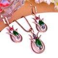 Projeto especial turco flor de lírio conjuntos de jóias verdes gota de água acrílico pingentes de colar Vintage princesa ganchos brincos de ouro
