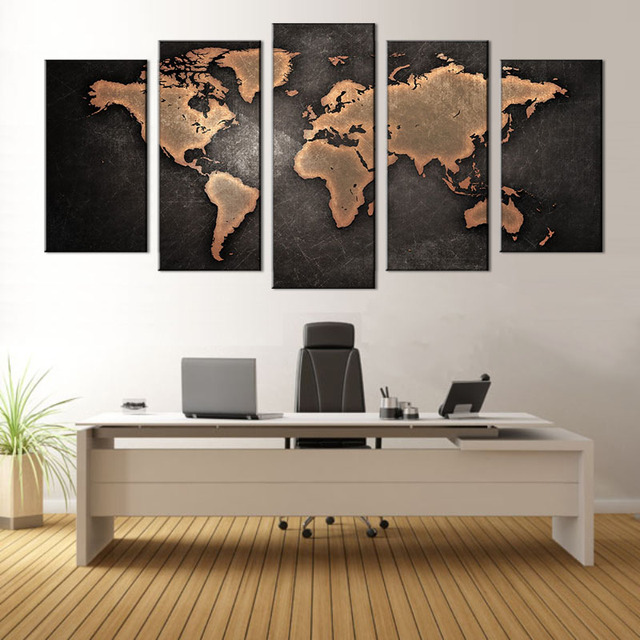 Attirant 5 Pcs/ Set World Map Wall Hanging Painting Modern Abstract Canvas Printed  Picture For Living